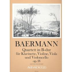 Baermann, Heinrich Joseph: Quartett in B-Dur op.18 für Klarinette/Violine/Viola/Violoncello Partitur und Stimmen