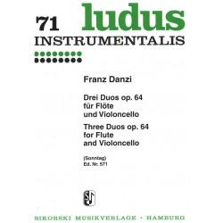 Danzi, Franz: 3 Duos op.64 : für Flöte und Violoncello 2 Spielpartituren
