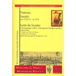 Susato, Tilman: Suite de Susato : für 2 Trompeten und 2 Posaunen (Pauken ad lib) Partitur und Stimmen