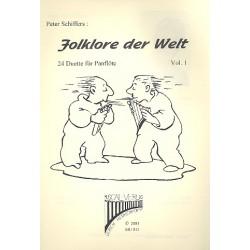 Schiffers, Peter: Folklore der Welt Band 1 : 24 Duette für 2 Panflöten mit Harmonien zur Begleitung (Gitarre, Klavier)