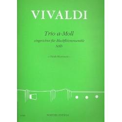 Vivaldi, Antonio: Trio a-Moll nach RV106 : f├╝r 3 Blockfl├Âten (AAB) Partitur und 3 Stimmen