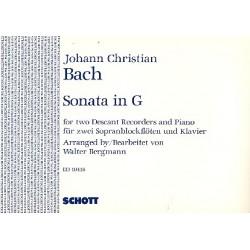 Bach, Johann Christian: Sonate G-Dur op.16,2 : für 2 Sopranblockflöten und Klavier