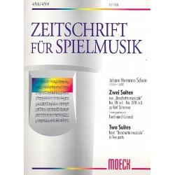 Schein, Johann Hermann: 2 Suiten aus Banchetto musicale : f├╝r 5 Blockfl├Âten (SSTTB) Spielpartitur