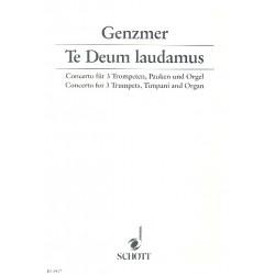 Genzmer, Harald: Te deum laudamus Concerto für 3 Trompeten, Pauken und Orgel Partitur und Stimmen