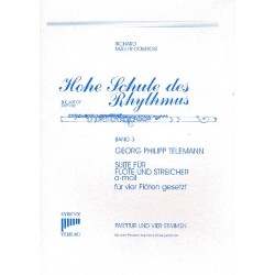 Telemann, Georg Philipp: Suite a-Moll für Flöte und Streicher für 4 Flöten Partitur und Stimmen