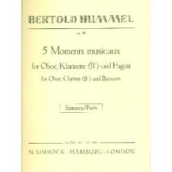 Hummel, Bertold: 5 moments musicaux op.48 : f├╝r Oboe, Klarinette, Fagott Stimmen