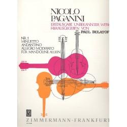 Paganini, Nicol├▓: Minuetto, Andantino, Allegro moderato : f├╝r Mandoline