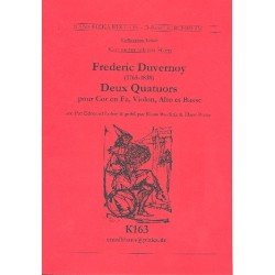 Duvernoy, Frederic Nicholas: 2 Quartette : für Horn in F, Violine, Viola und Baß Partitur und Stimmen