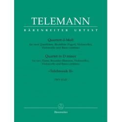 Telemann, Georg Philipp: Quartett d-Moll : für 2 Flöten, Altblockflöten und Bc Partitur und 5 Stimmen