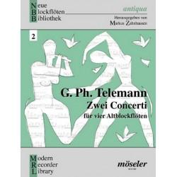 Telemann, Georg Philipp: 2 Concerti : für 4 Altblockflöten Partitur und Stimmen