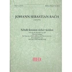 Bach, Johann Sebastian: Schafe können sicher weiden aus BWV208 Arie für Sopran, 2 Altblockflöten und Bc Partitur und Stimmen