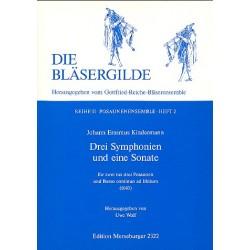 Kindermann, Johann Erasmus: 3 Sinfonien und eine Sonate : für 3 Posaunen und Bc ad lib. Partitur