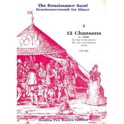 12 Chansons (um 1530) : für ATTB oder 4 Instrumente in ATTB Lage Partitur