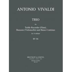 Vivaldi, Antonio: Trio a-Moll RV86 für Altblockflöte (Flöte), Fagott (Violoncello) und Bc Partitur und Stimmen