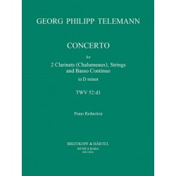 Telemann, Georg Philipp: Concerto d minor for 2 clarinets and strings : for 2 clarinets and piano