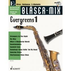 Bläser-Mix (+CD) : Evergreens 1 für Es-Instrumente (Melodie und 2. Stimme)