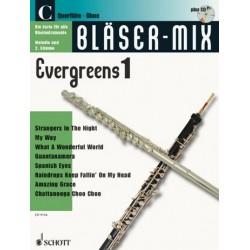 Bläser-Mix (+CD) : Evergreens 1 für C-Instrumente (Melodie und 2. Stimme)