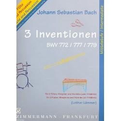 Bach, Johann Sebastian: 3 Inventionen : für 2 Flöten, Vibraphon und Marimba Partitur und 2 Spielpartituren
