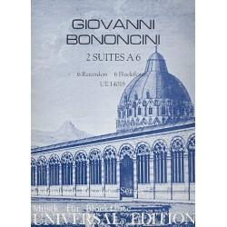 Bononcini, Giovanni Maria: 2 Suiten à 6 aus op.5 : für 6 Blockflöten (SSAATB) und Bc