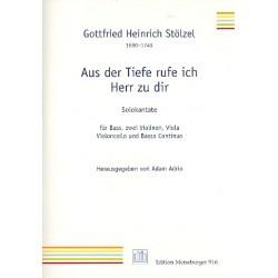 Stölzel, Gottfried Heinrich: Aus der Tiefe ruf ich Herr zu dir : für Baß, Streicher und Bc Partitur