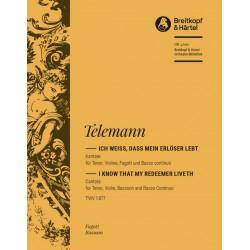 Bach, Johann Sebastian: Ich weiß daß mein Erlöser lebt Kantate Nr.160 BWV160 Harmonie (Fagott)