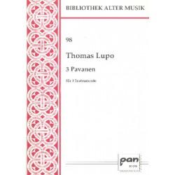 Lupo, Thomas: 3 Pavanen : für 3 Instrumente 3 Partituren