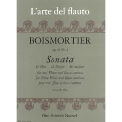 Boismortier, Joseph Bodin de: Sonate G-Dur op.34,2 : f├╝r 3 Fl├Âten und Bc
