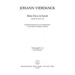 Vierdanck, Johann: Mein Herz ist bereit : Geistliches Konzert für 2 hohe Singstimmen, 2 Violinen und Kontrabaß, Partitur und