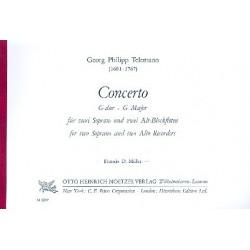 Telemann, Georg Philipp: Concerto G-Dur : f├╝r 4 Blockfl├Âten (SSAA) Partitur und 4 Stimmen