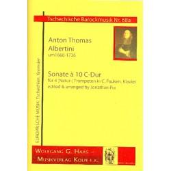 Albertini, Anton Thomas: Sonate a 10 C-Dur für 4 Trompeten und Klavier Partitur und 4 Spielpartituren