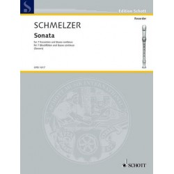 Schmelzer, Johann Heinrich: Sonata : for 7 recorders and bc score and parts