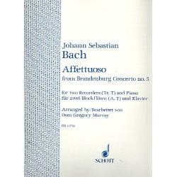 Bach, Johann Sebastian: Affettuoso from brandenburg concertp No. 5 : f├╝r 2 Blockfl├Âten (A,T) und Klavier Partitur und 2