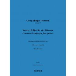 Telemann, Georg Philipp: Konzert D-Dur für 4 Gitarren Partitur und Stimmen (Kopie)