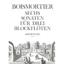 Boismortier, Joseph Bodin de: 6 Sonaten op.7 : für 3 Altblockflöten ohne Baß Spielpartitur