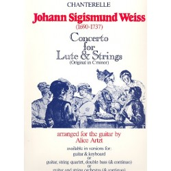 Weiss, Johann Sigismund: Concerto d minor : for lute and strings score and parts (+keyboard part)