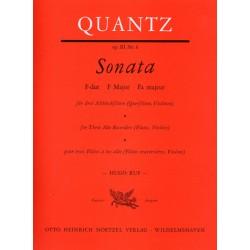 Quantz, Johann Joachim: Sonate F-Dur op.3,6 : für 3 Altblockflöten (Flöten, Violinen) Spielpartitur
