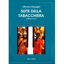 Respighi, Ottorino: Suite della tabacchiera : für 2 Flöten, 2 Oboen, 2 Fagotte und Klavier zu 4 Händen, Partitur und Stimmen