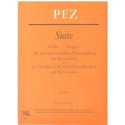 Pez, Johann Christoph: Suite G-Dur : für 2 Sopranblockflöten und Klavier
