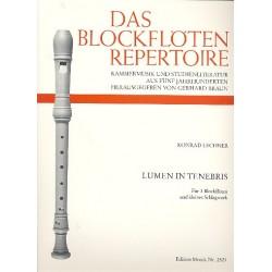 Lechner, Konrad: Lumen in tenebris : für 3 Blockflöten und kleines Schlagwerk 3 Spielpartituren