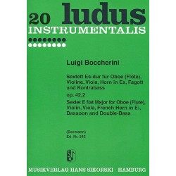Boccherini, Luigi: Sextett Es-Dur op.42,2 für Oboe, Fagott, Horn, Violine, Viola und Kontrabaß, Stimmen