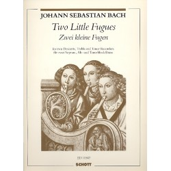 Bach, Johann Sebastian: 2 little Fugues : for 4 recorders (ssat), score