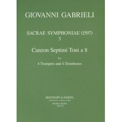 Gabrieli, Giovanni: Canzon septimi toni no. 2 a 8 for 4 trumpets and 4 trombones score and 12 parts