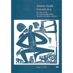 Vivaldi, Antonio: Concerto a-Moll RV445, PV83 für Sopraninoblockflöte, Streicher und Bc, Partitur