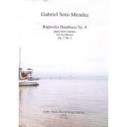 Soto Mendez, Gabriel: Rapsodia bambuco Nr.4 op.7,2 : für 3 Hörner Partitur und Stimmen