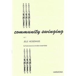 Hogenhuis, Jelle: Community Swinging vol.1: for 4-7 flutes (piano/guitar ad lib) score