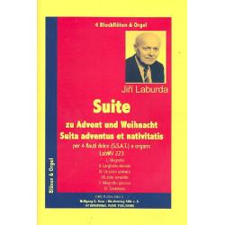 Laburda, Jiri: Suite zu Advent- und Weihnachtszeit LabWV223 : für 4 Blockflöten (SSAT) und Orgel