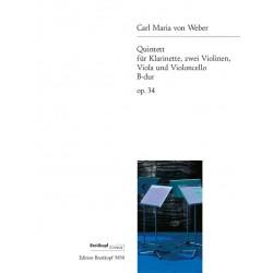 Weber, Carl Maria von: Quintett B-Dur op.34 : für Klarinette und Streichquartett Stimmen