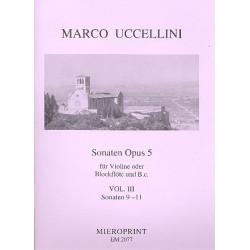 Uccellini, Marco: Sonaten op.5 Band 3 (Nr.9-11) : für Blockflöte und Bc