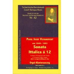 Vejvanovsky, Pavel Josef: Sonata Ittalica a 12 : für 3 Naturtrompeten (Trompeten in C/B) und Orgel Orgelauszug