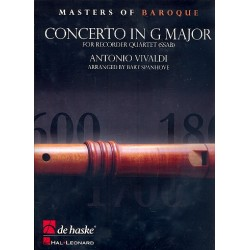 Vivaldi, Antonio: Concerto in G Major op.4,5 : for 4 recorders (SSAB) score and parts